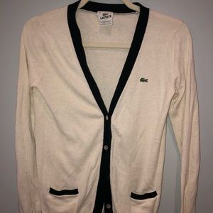 Lacoste Cream Button Up Cardigan